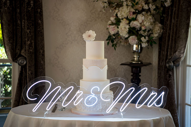 Bridal Expos Melbourne - Winter Wedding Styled Shoot - Ballara Receptions - Cakes from Sweet Affection Cakes - Neon Sign from Event Neon Signs